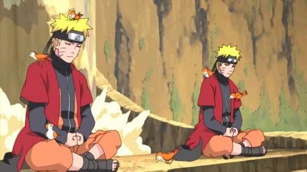 Myoboku Dağı'nda bulunan Naruto Gölge klonları senjitsu çakrası topluyor