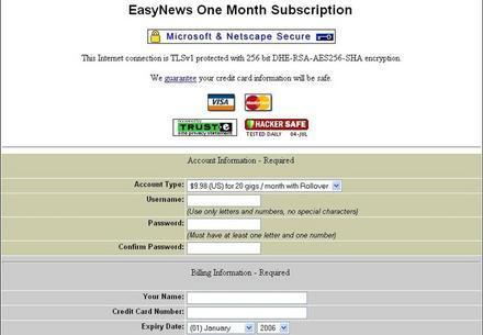 Easynews Üyelik Ekranı
