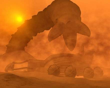 Bir rafineriyi hüpletmek üzere olan bir Dune solucanı