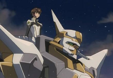 şövalye robotuna (Knightmare Frame) binmek üzere olan pilot