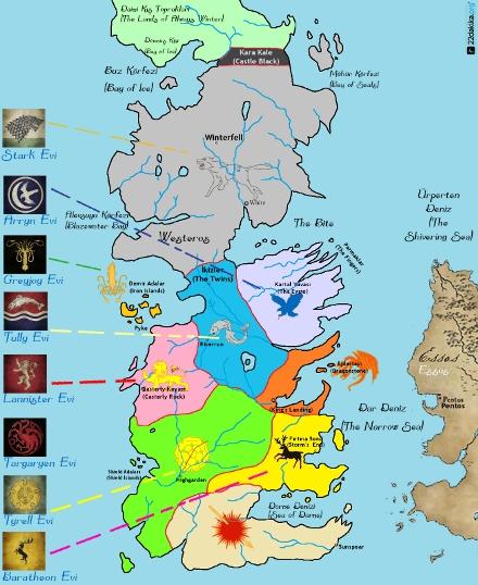 Ailelerin Westeros'a Dağılımı