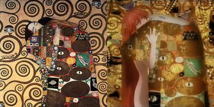 Gustav Klimt'in der kuss isimli tablosu, ilki orjinali, ikincisi jenerikte kullanılan hali.